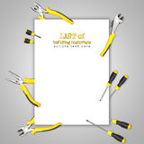 Yellow-black handy tools (pilers and screwdriver) forming frame on borders of picture Royalty Free Stock Image