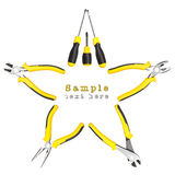 Yellow-black handy tools (pilers and screwdriver) forming star shape Royalty Free Stock Image
