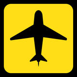 Yellow, black information sign - airliner icon. Yellow rounded square information road sign with black airliner icon and frame Stock Photos