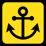 Yellow, black information sign - anchor icon. Yellow rounded square information road sign with black anchor icon and frame Stock Image