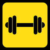 Yellow, black information sign - dumbbell icon. Yellow rounded square information road sign with frame - black dumbbell icon Royalty Free Stock Images
