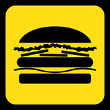Yellow, black information sign - hamburger icon. Yellow rounded square information road sign with black hamburger icon and frame Stock Image