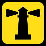 Yellow, black information sign - lighthouse icon. Yellow rounded square information road sign with black lighthouse icon and frame Royalty Free Stock Photos