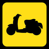 Yellow, black information sign - scooter icon. Yellow rounded square information road sign with black scooter icon and frame Stock Images