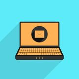 Yellow and black laptop with mail icon Royalty Free Stock Photography