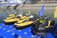 Yellow and black motorboat Stock Photos