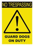 Yellow Black Triangle No Trespassing Guard Dogs On Duty Text Warning Sign, Vertical Large Detailed Isolated Macro Closeup royalty free stock photo