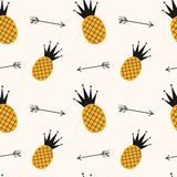 Yellow black pineapple seamless pattern background illustration with arrows Stock Photos