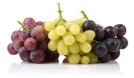 Yellow, Black and pink grapes Royalty Free Stock Images
