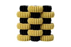 Yellow and black plastic gears Stock Images