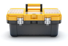 Yellow black plastic toolbox Stock Photos
