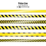 Yellow With Black Police Line. Danger Security Quarantine Tapes. Isolated On White Background. Vector Illustration Royalty Free Stock Photography
