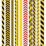 Yellow with black police line and danger tapes. Royalty Free Stock Photos