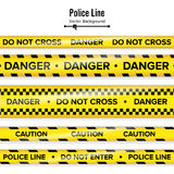 Yellow With Black Police Line. Do Not Cross, Danger, Caution. Danger Security Quarantine Tapes. Isolated On White Royalty Free Stock Images