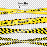 Yellow With Black Police Line. Do Not Enter, Danger. Security Quarantine Tapes. Isolated On Transparent Background Stock Image