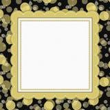 Yellow and Black Polka Dot Frame Background Stock Photos