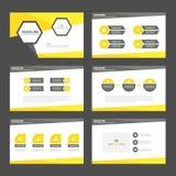 Yellow black presentation template Infographic elements flat design set for brochure flyer leaflet marketing Royalty Free Stock Photos