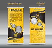 Yellow and black Roll up banner stand template vintage banner  Stock Image