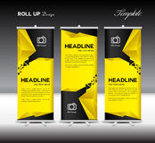 Yellow and black Roll Up Banner template vector illustration pol stock illustration
