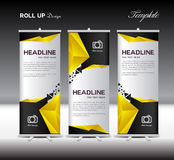 Yellow and black Roll Up Banner template vector illustration pol Royalty Free Stock Photos