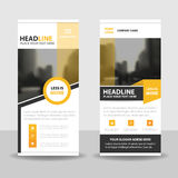 Yellow black roll up business brochure flyer banner design , cover presentation abstract geometric background, modern publication Stock Images