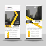 Yellow black roll up business brochure flyer banner design , cover presentation abstract geometric background, modern publication Stock Photography