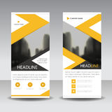 Yellow black roll up business brochure flyer banner design , cover presentation abstract geometric background, modern publication. X-banner and flag-banner stock illustration