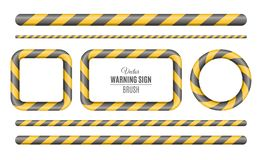 Yellow is a black seamless brush with a sign of caution. Police investigation. Building construction. Slanting lines. Attention. V Stock Photos