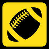 Yellow, black sign - american football ball icon Stock Images