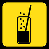 Yellow, black sign - carbonated drink, straw icon Royalty Free Stock Image