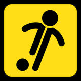 Yellow, black sign - football, soccer player icon Royalty Free Stock Image