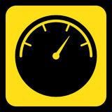Yellow, black sign - gauge, dial symbol icon Stock Image