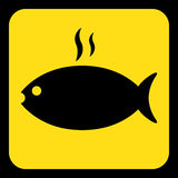Yellow, black sign - grilling fish with smoke icon. Yellow rounded square information road sign - black grilling fish with smoke icon and frame Stock Photo
