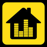 Yellow, black sign - house with equalizer icon Stock Photos