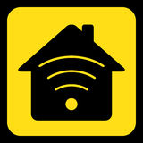 Yellow, black sign - house with signal icon Royalty Free Stock Photography