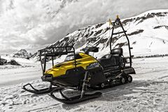 Yellow and Black Snowmobile Stock Photos