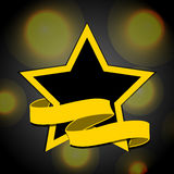 Yellow and black star with banner background. Yellow and Black Star with Banner Over Black Background with Yellow Lights Stock Photos