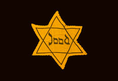 Yellow and black star which the Jews were required to wear in oc. Cupied Holland during World War 2, dutch language Royalty Free Stock Image