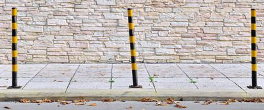 Yellow Black Street Posts Stock Images