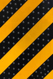 Yellow and Black Stripe warning sign on  the danger area Royalty Free Stock Image