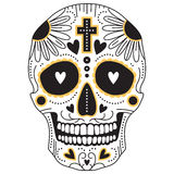 Yellow and black sugar skull Stock Image