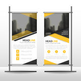 yellow black triangle business roll up banner flat design template abstract geometric banner template vector