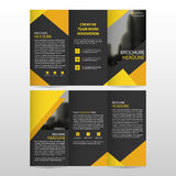 Yellow black triangle business trifold Leaflet Brochure Flyer report template vector minimal flat design set, abstract three fold. Presentation layout templates Stock Photos
