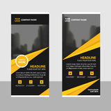 Yellow black triangle roll up business brochure flyer banner design , cover presentation abstract geometric background Stock Photos