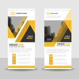 Yellow black triangle roll up business brochure flyer banner design , cover presentation abstract geometric background, stock illustration