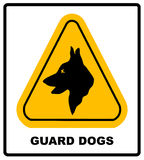 Yellow black triangle Warning Guard Dogs On Duty Text Sign,  Royalty Free Stock Photos