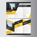 Yellow black trifold Leaflet Brochure Flyer template design, book cover layout design Royalty Free Stock Photos