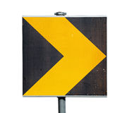 Yellow and black turn road sign isolated on white. Background Royalty Free Stock Images