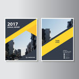 Yellow black Vector annual report Leaflet Brochure Flyer template design, book cover layout design. Set Royalty Free Stock Photo