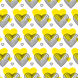 Yellow and black vector pattern with heart Stock Images